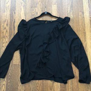 Black ruffle blouse- Lane Bryant